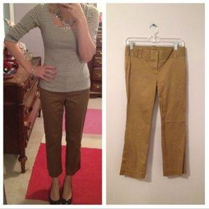 J crew city fit tan tailored capri cropped pants